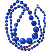 REDUCED Long Art Deco Peking Glass Blue Beads