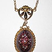 SALE Vintage Art Glass Pendant Necklace Enamel Glass