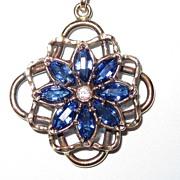 Vintage Pendant Gold Fill Blue Stones