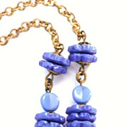 SALE Vintage Long Chain Necklace Periwinkle Glass Beads