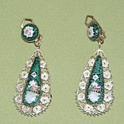 Vintage Persian Enamel Drop Earrings Reversible