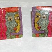 Vintage Artist Clip Earrings Faces