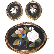 SALE Victorian Pietra Dura Large Brooch and Earrings