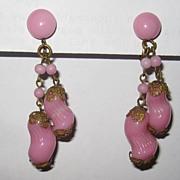 Pretty Vintage Japan Pink Glass Earrings