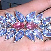 Large Vintage Glass Brooch Pink and Blue
