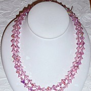 REDUCED Best Vintage Pink Crystal Beads Necklace