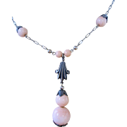 Art Deco Pink Glass Necklace