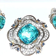 REDUCED Gorgeous Polcini Brooch and Earrings Set Aqua Blue