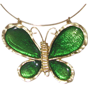 REDUCED Polcini 1970s Huge Poured Glass Butterfly Pendant