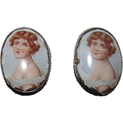 Adorable Vintage Portrait Earrings Screw Back
