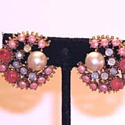 SALE Vintage Glass Clip Earrings Pink and Moonstone