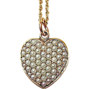 REDUCED Victorian Puffy Heart Seed Pearls