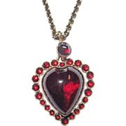 SALE Victorian Puffy Garnet Heart Charm Gorgeous