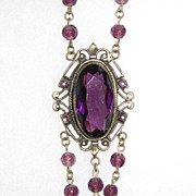 SALE Victorian Purple Long Pendant Necklace