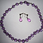 SALE Vintage Purple Cut Glass Beads Matching Earrings