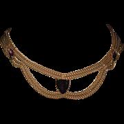 SALE Vintage Swag Necklace Purple Glass