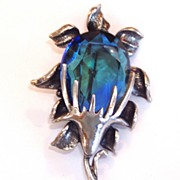 Lovely Blue Green Watermelon Like Glass Pin Signed Ravana