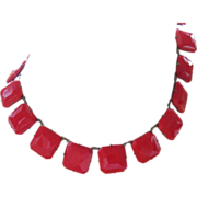 REDUCED Vintage Lipstick Red Glass Choker