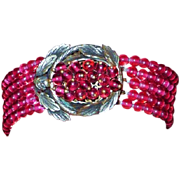 REDUCED Incredible Vintage Red Glass bead Bracelet