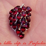 SALE Red Crystals Grapes Dress Clip Small But Pretty