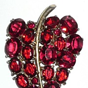 SALE Large Red Rhinestone Dress Clip Leaf