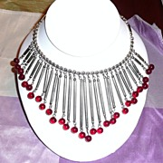 SALE Awesome Fringe Necklace with Poured Glass Beads Red