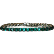 Vintage Sterling Green Paste Bracelet