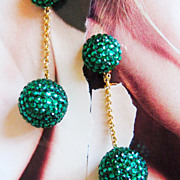 SALE Fancy Green Runway Rhinestone Ball Drop Earrings Large
