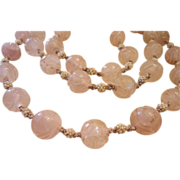 REDUCED Art Deco Carved Rose Quartz Rock Crystal Necklace