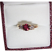 REDUCED Gorgeous Fine Estate Ruby Diamond Ring 18K Yellow Gold