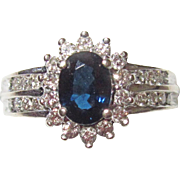 REDUCED Estate Sapphire Diamond Ring 14K White Gold