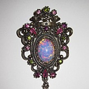Sweet Sarah Coventry Brooch Faux Opal
