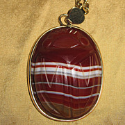 REDUCED Giant Banded Agate Carved Scarab Pendant