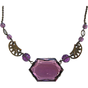 REDUCED Art Deco Purple Glass Choker