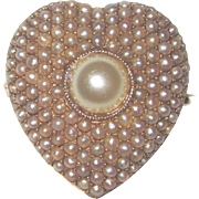 Largest Victorian 14K Cultured Pearls Watch Holder Pin Pendant