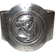 REDUCED Silver Bracelet Cameo of Man Made From Napkin Ring