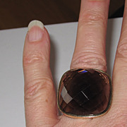 REDUCED Wow! Huge 14K Gold Smoky Topaz Ring