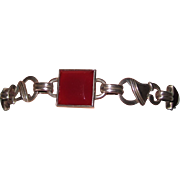 SALE Arts & Crafts Carnelian Sterling Bracelet