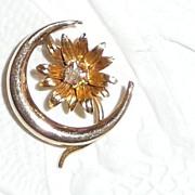SALE Victorian 14k Gold Stickpin Crescent Moon with Diamond