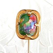 REDUCED Large Art Nouveau Art Glass Stickpin