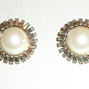 SALE Vintage St. John Clip Earrings Faux Pearls
