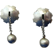 REDUCED Modern Silver Studio Earrings Excellent