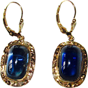 REDUCED Vintage Gold Sugarloaf Blue Stone Earrings