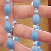 SOLD Vintage Gorgeous Glass Turquoise Artglass Beads Necklace