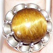 SALE Mexican Silver Tiger Eye Stone Ring Size 6