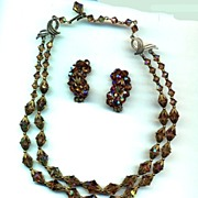 SALE Topaz Crystals Necklace and Earrings