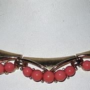 SOLD Vintage Trifari Faux Coral Necklace