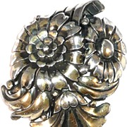 REDUCED Trifari 'Alfred Philippe' Silvertone Deco Triple Floral Spray Pin Clip