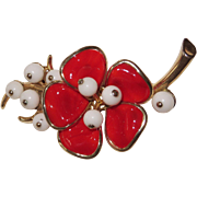 Vintage Trifari Red Glass Magnolia Brooch