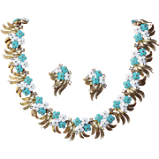 SOLD Trifari Aqua Floral Necklace and Earrings